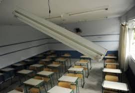 Sala de aula vazia após o desabamento do suporte de iluminação