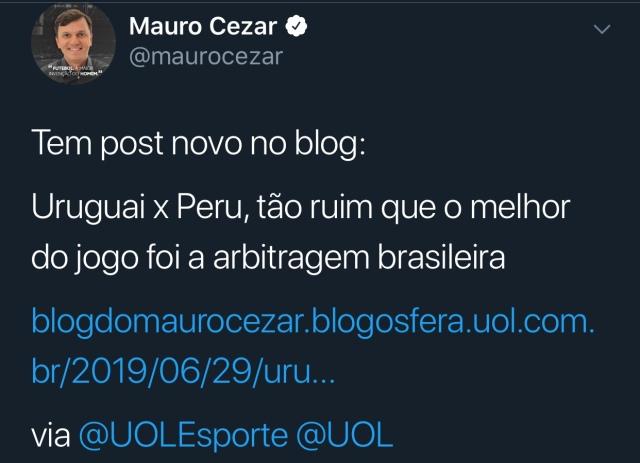 mauro cesar twitter copa america uruguai